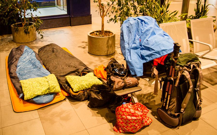 Nachtlager am Flughafen